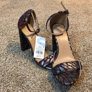 Burgundy and silver/grey heels with strap!! NWT!